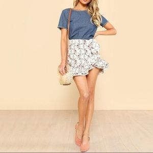 FRENCH CONNECTION • Silk Floral Mini Ruffle Skirt